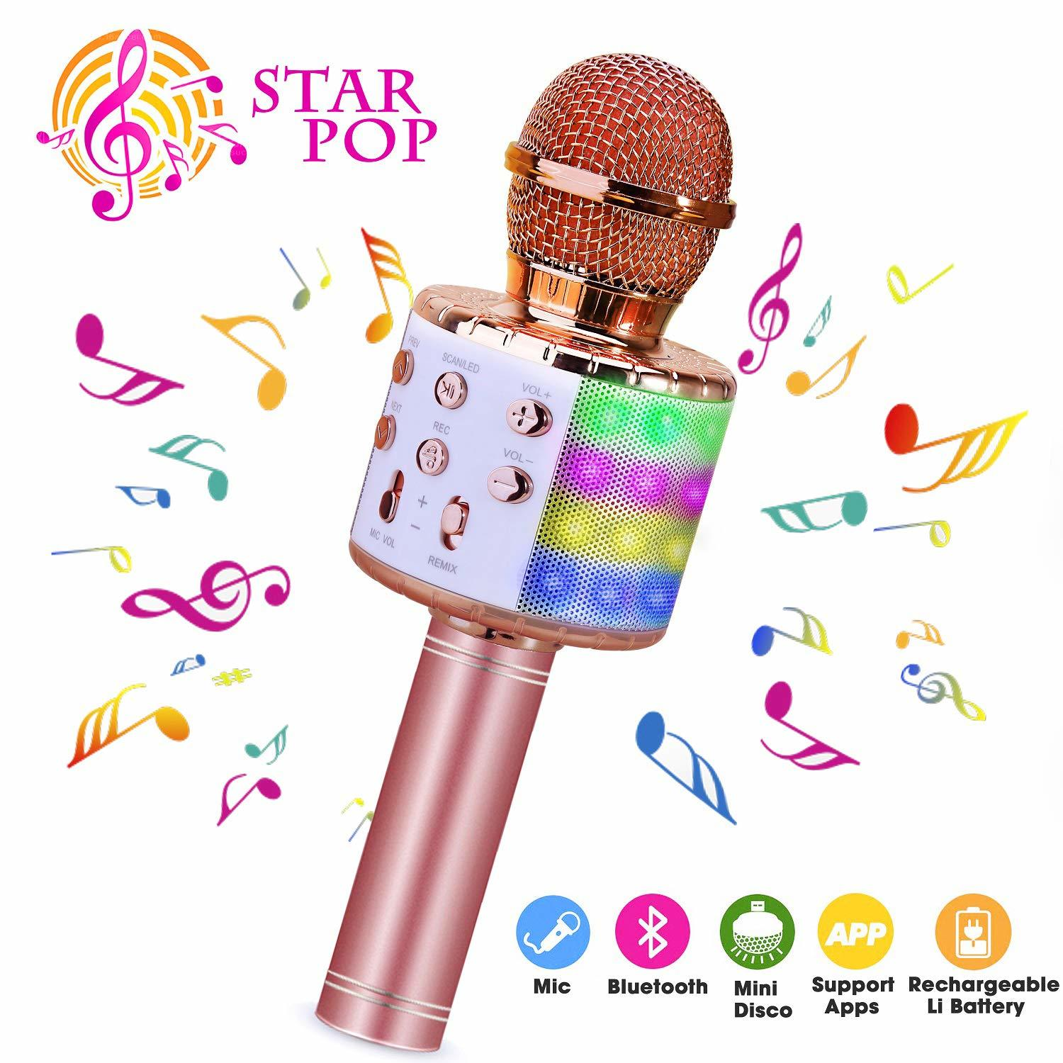Wireless Karaoke Record Microphone 4 In 1 Bluetooth Handheld Portable Speaker Machine Home KTV Player For Android & IOS Devices
