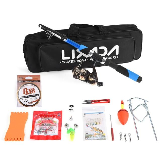 Lixada Fishing Tackle Set with 2.1m Telescopic Fiberglass Fishing Sea Rod Spinning Reel Baits Hooks Bag Kit Seawater Freshwater