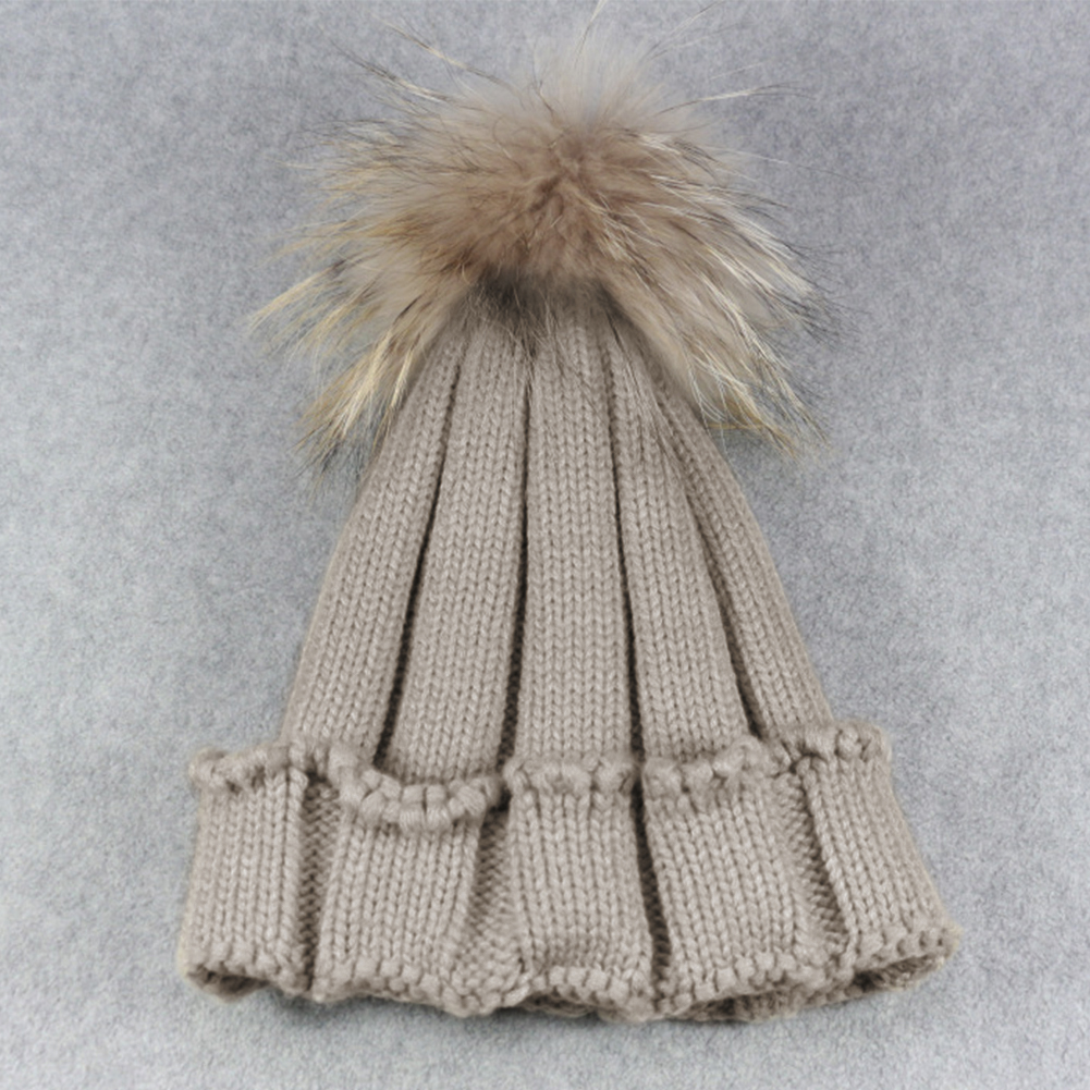 e441018796d 2018 Autumn Winter Women Raccoon Faux Fur Pompom Hat Female Warm Cap  Knitted Beanie Girl Ball Pom Pom Hats Woman Bonnet Femme