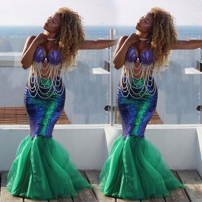 Ladies Sexy Women Adult Skirt Fancy Dress Cosplay Costume Sequins Long Dress Tail Skirt