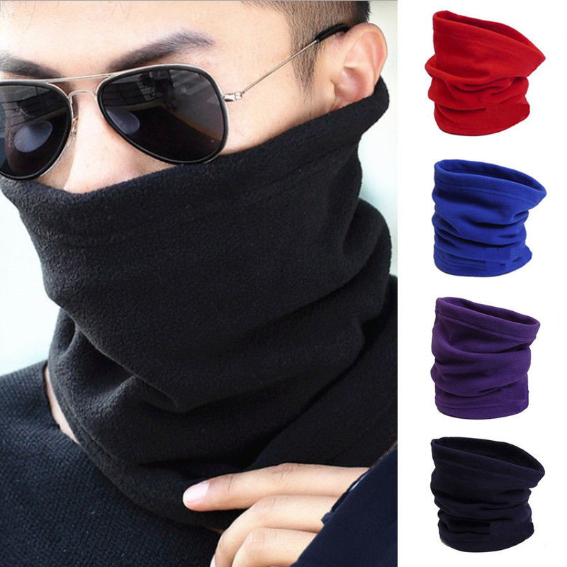 Balaclava Scarf Fleece Snood Ski Winter Women Neck-Warmer Solid-Color Brand-New Hats