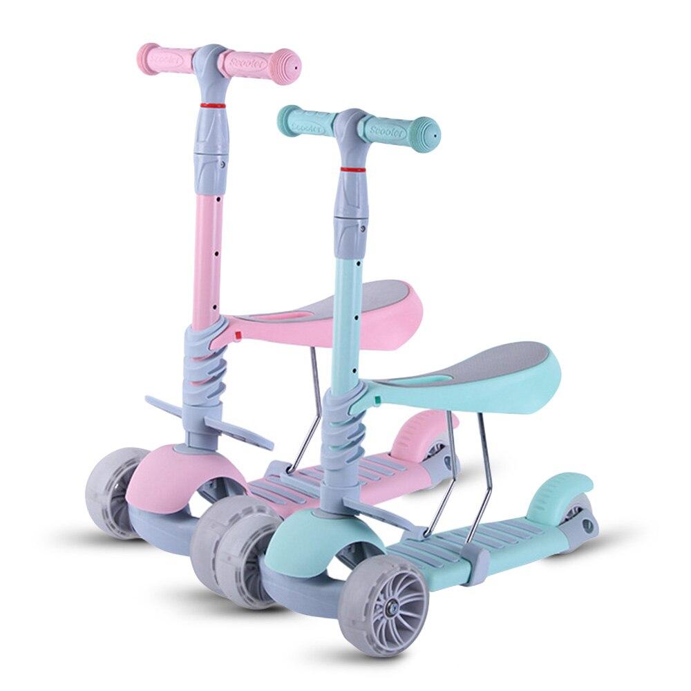 Bébé marcheur trois-en-un trois roues enfants Scooter siège amovible adulte enfants coup de pied Scooter pliable bébé santé Sports