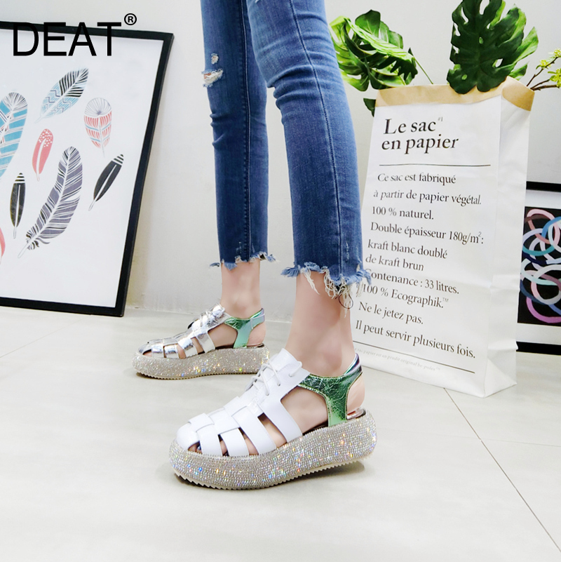 DEAT 2019 New Spring Summer Round Toe Shallow Patent Leather Lace up Crystal Wedges Heels