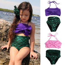От 2 до 14 лет, купальник бикини с бантом и русалочкой для маленьких девочек, купальник, пляжная одежда, купальный костюм, одежда для девочек, комплект из 2 предметов