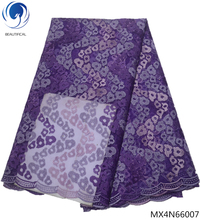 Beautifical purple lace mesh fabric latest nigerian wedding african for clothes MX4N660