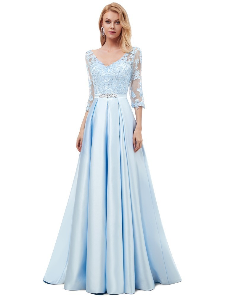 Vivian's Bridal 2019 Spring Fashion Ice Blue Elegant Satin   Evening     Dress   Sexy Double V-neck Half Sleeve Sweep Train Party   Dress