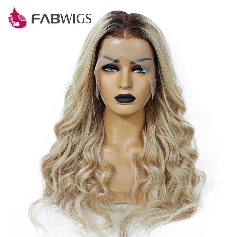 Fabwigs 150% Density Lemi Color Full Lace Wig Pre Plucked Balayage Ombre Human Hair Wigs T4/27/613 Brazilian Wig Remy Hair