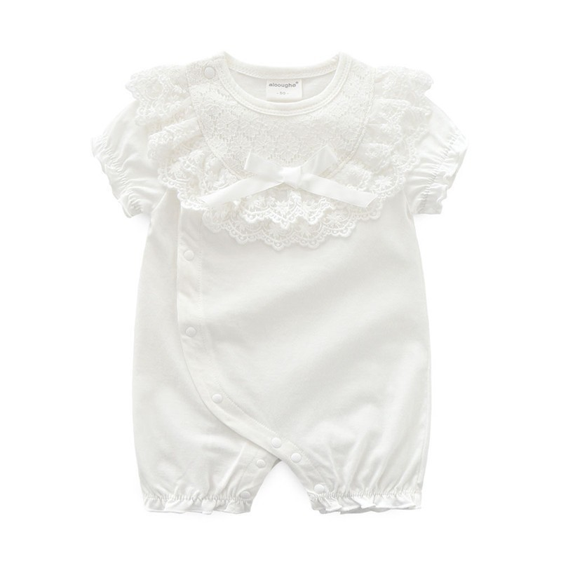 Flowers Lace Newborn Infant Baby Girl Bodysuits Ruffles Bow Girls Jumpsuits Summer Girls One Pieces Clothes Outfits in Rompers from Mother Kids