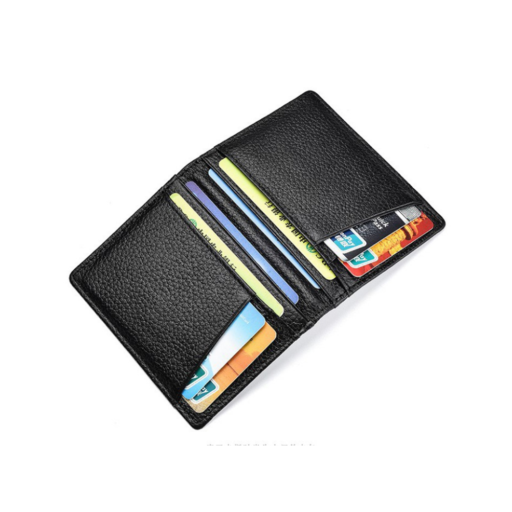 New Fashion Solid Black Genuine Leather Business Card Holder For Men Slim Card Wallet Thin ID Protection Case For Card Purse Bag