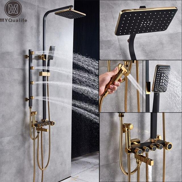 マットブラックシャワー列降雨お風呂シャワーの蛇口ハンドシャワービデスプレーヘッド浴室シャワーミキサースイベルスパウト