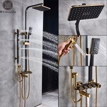 Matte Schwarz Dusche Spalte Regen Bad Dusche Wasserhahn mit Hand Dusche Bidet Sprayer Kopf Bad Dusche Mischer Schwenk Auslauf
