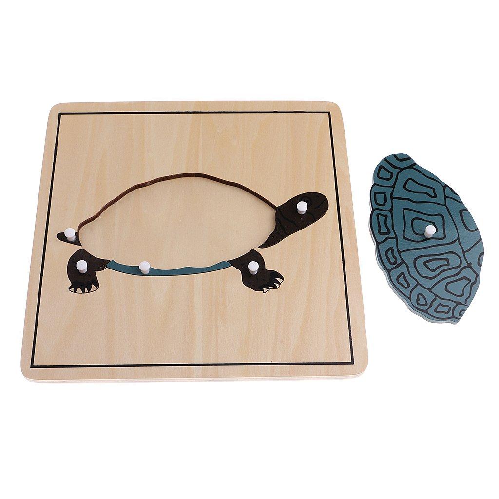 8 stuks Houten Dier Plant Puzzel Intelligentie Ontwikkeling Spel Montessori Early Learning Educatief Speelgoed voor Kinderen Kids - 6