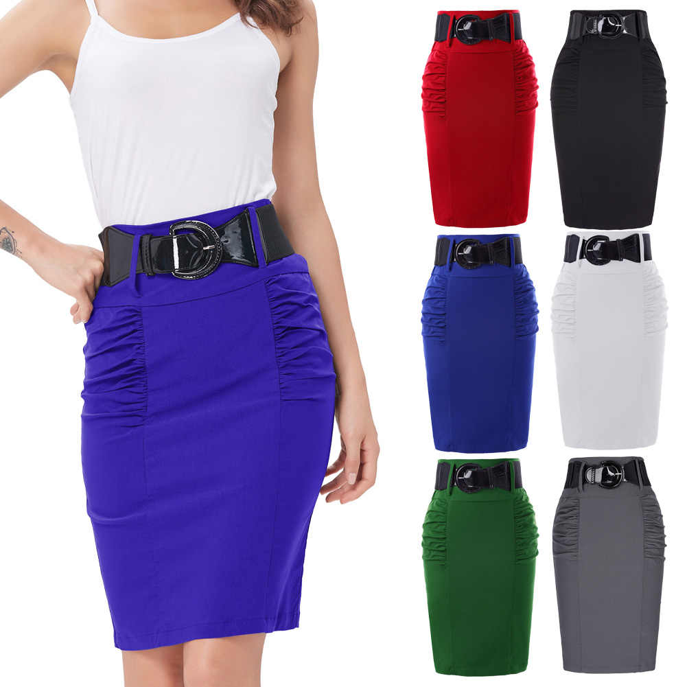 7d8c2fd39e ... 2018 Pencil Skirts Womens Summer Autumn Business Work Office Casual  Skirt With Belt High Waist Black ...