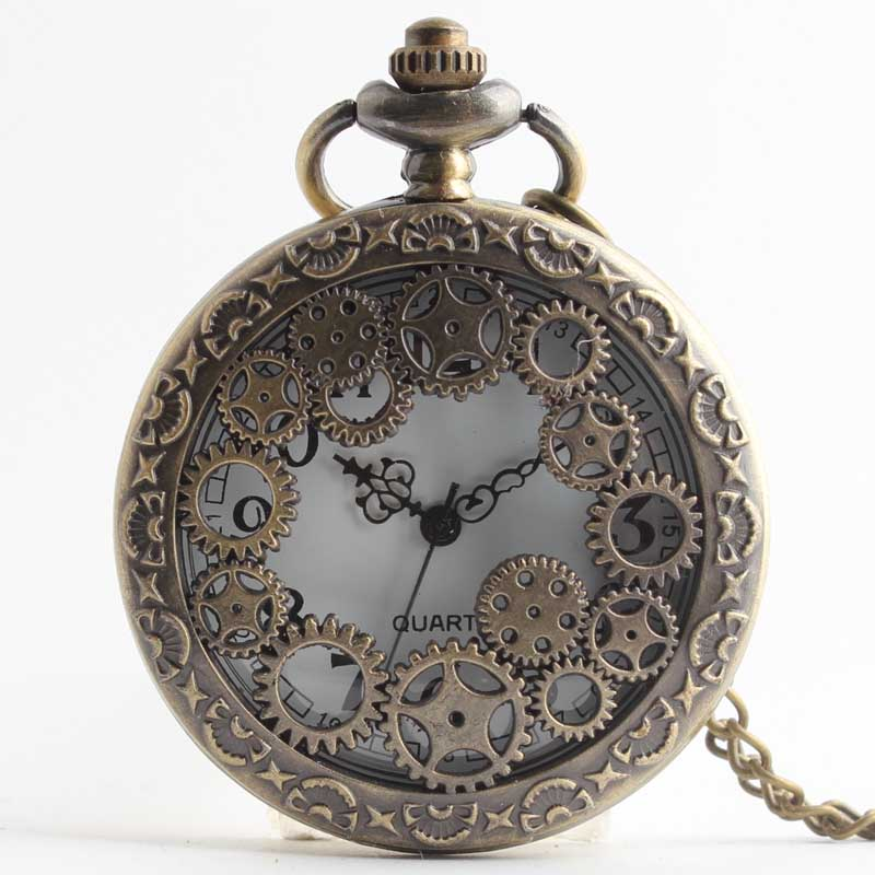 Pocket & Fob Watches  Vintage Bronze Gear Hollow Quartz Pocket Watch Necklace Pendant Clock Chain for Men's /Women Watch
