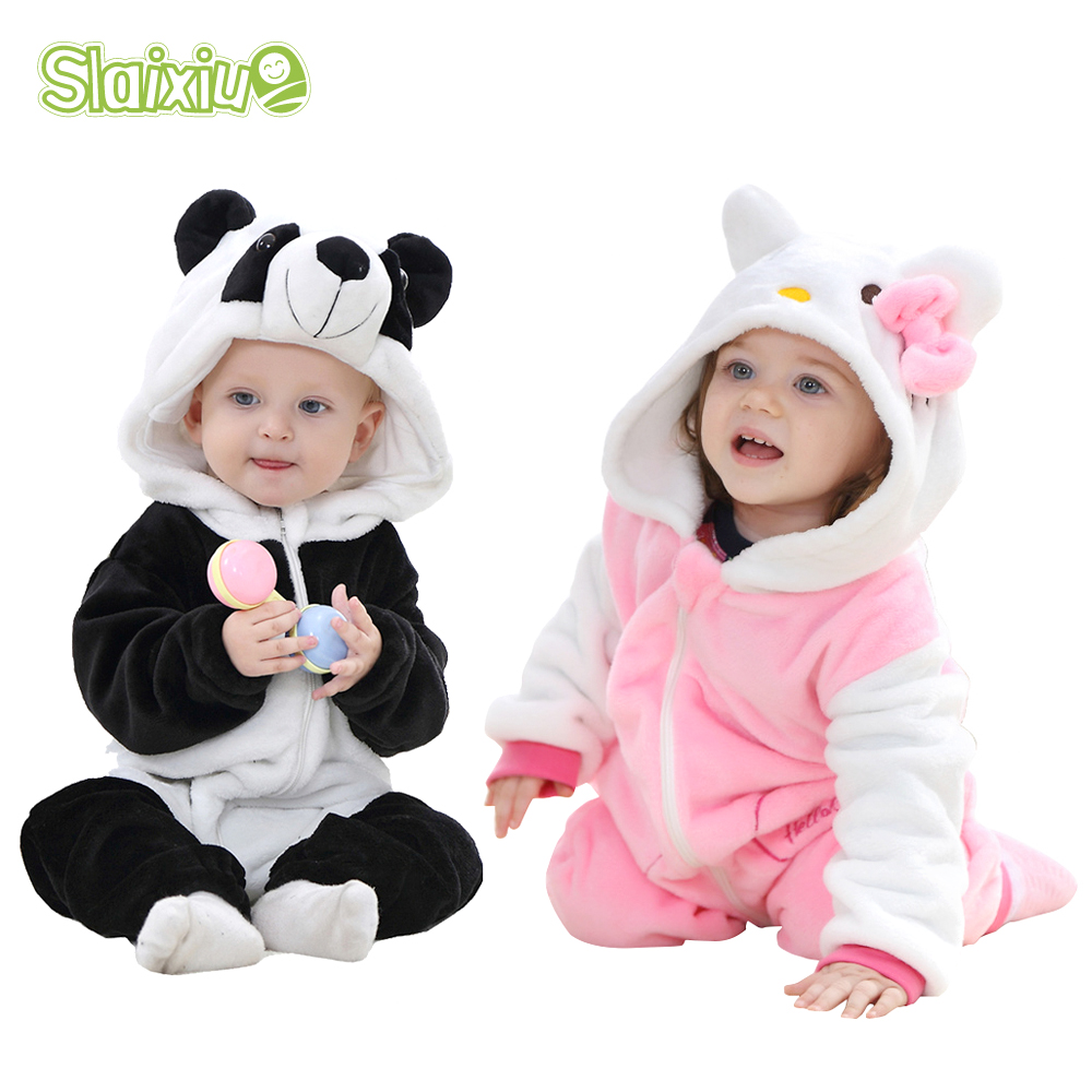 066973bed5e SLAIXIU Cute Animal Hooded Baby Rompers For Babies Boys Girls Clothes  Newborn Clothing Toddler Jumpsuit Infant