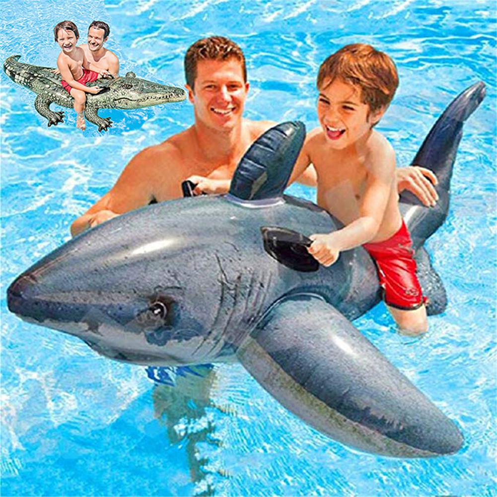 Jaws Shape Floating Toy Swimming Ring With Double Handle For Kids