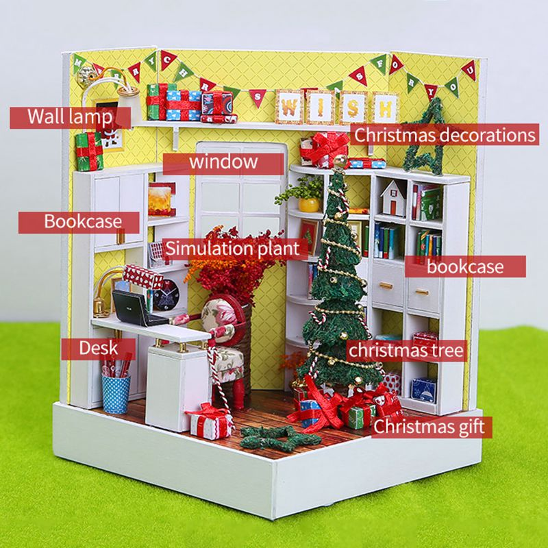 IIECREATE DIY Wooden Doll House Room Box Handmade 3D