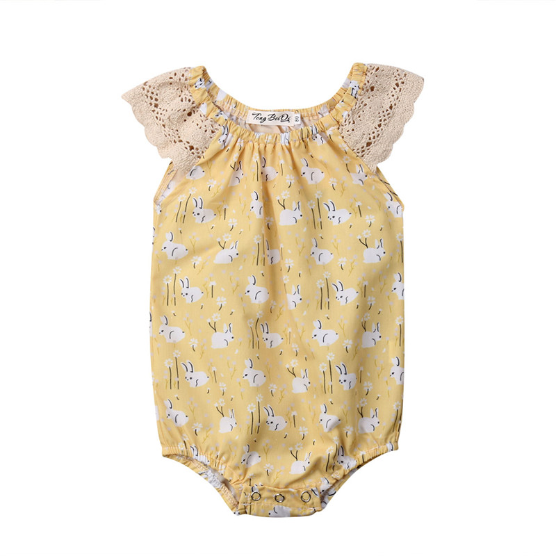 Easter Baby Baby Girl Sleeveless Rabbit Printed   Romper   Newborn Baby Cotton Jumpsuit Casual O-neck Playsuit Outfits Baby Clothes