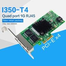 FANMI adaptateur pour serveur, pci express X4, 4 ports Ethernet Gigabit (intel I350AM4) I350 T4, carte réseau