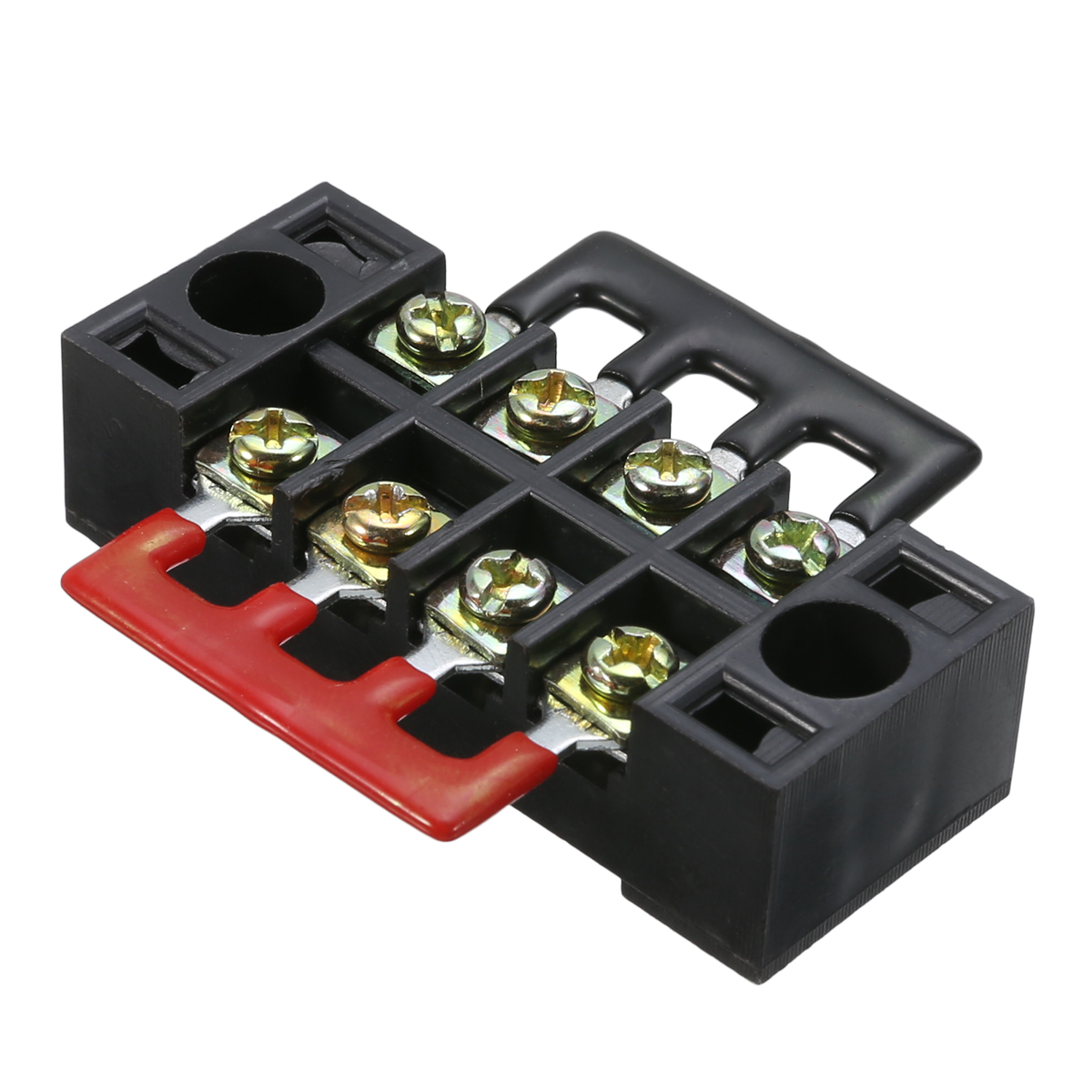 600V 15A 4P Double Row Wire Barrier Terminal Block With 2 Connector Strips Power Distribution Terminal for Electronic Circuit image