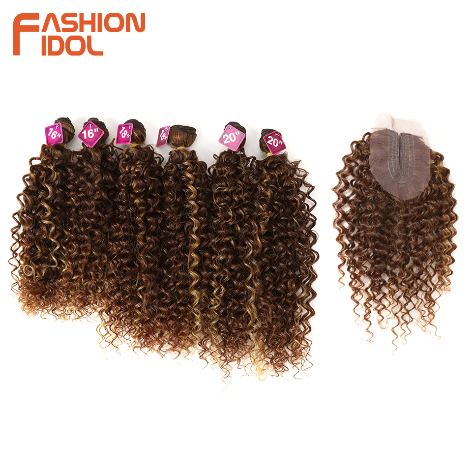 FASHION IDOL Afro Kinky Curly Hair 16-20inch 7Pieces/lot Synthetic Hair Middle Part Lace Front Closure Bundles With Closure 240g