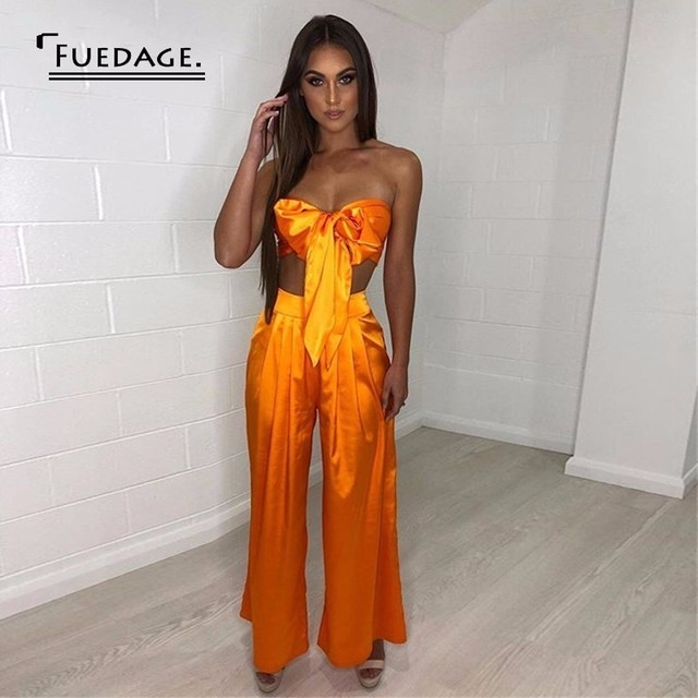cafef0cd0cfc0 Fuedage Sexy Solid Two Piece Set Bow Casual Off Shoulder Crop Top+ Wide Leg  Pants women set Silk 2 Piece Set Women Outfits