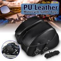 Pair PU Leather Motorcycle Tool Bag Luggage Saddle Bags Motorcycle Side Helmet Riding Travel Bag For Harley 48x30x16cm