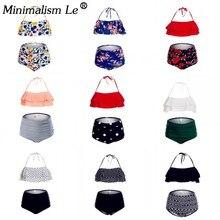 Minimalism Le Solid Ruffle Bikinis Women Sexy Floral Print Swimsuit New Halter Top Swimwear High Waist Beachwear Female Biquini