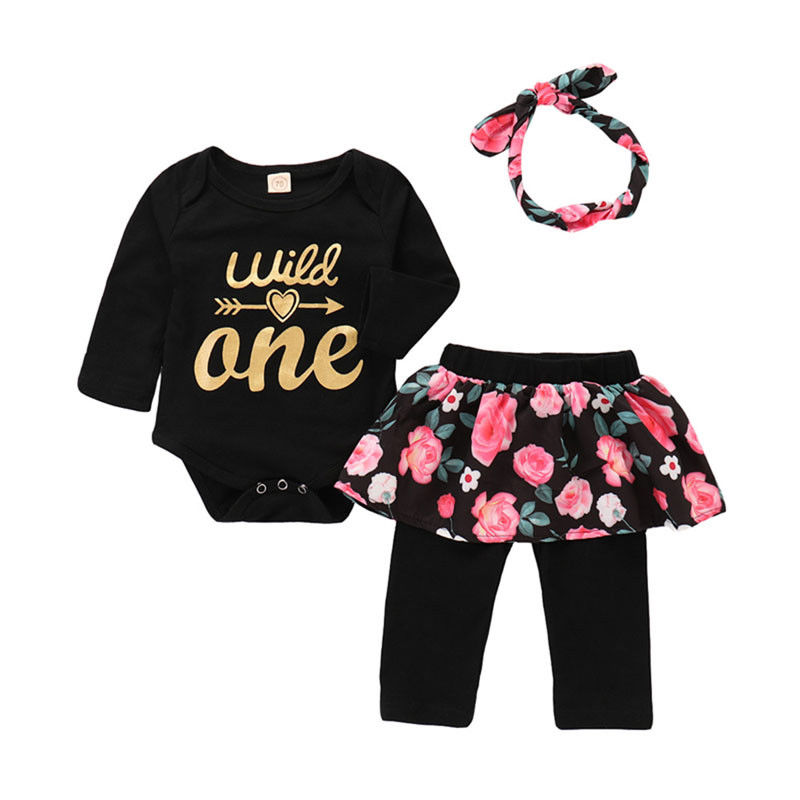 Lovely Newborn Baby Girl Romper + Floral Pant Skirt + Headband 3PCS Outfit 1st Birthday Party Sets Clothes