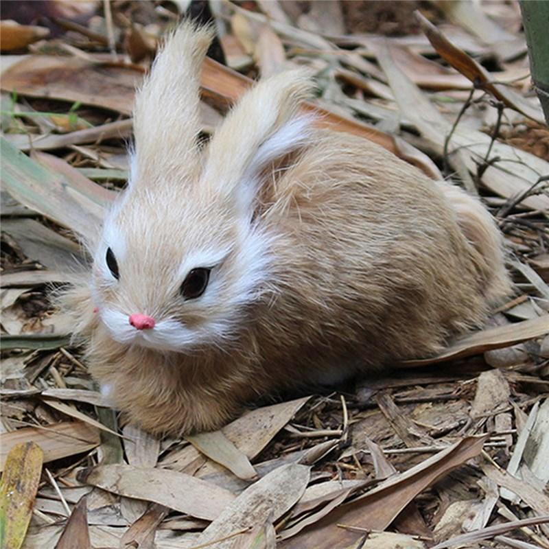 15CM Simulation Rabbit Toy Cute White Fur Realistic Animal Easter Bunny Realistic Toy Model Birthday Gift Model Mini