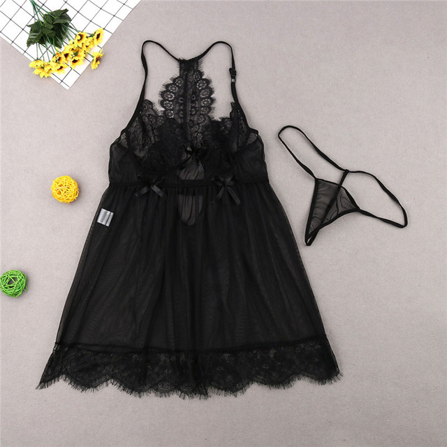 M-3XL Plus Size Dress Women Black Lace Sleepwear Super Sexy Home Dresses For Women Tops And Panties Two Piece Lingerie Robe Set 2