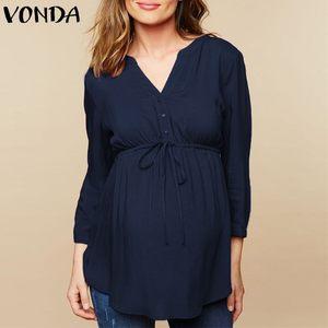 VONDA Schwangere Mutterschaft Blusen Herbst Lässig Schwangere Blusas Tops Sexy V-ausschnitt Volle Hülse Hohe Taille Mutterschaft Pullover