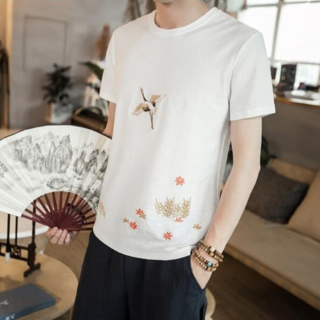 #4516 Summer Short Sleeve Shirt Cotton Linen T Shirt Men Chinese Style Embroidery Floral Vintage Round Neck Tee Shirt Homme 5XL