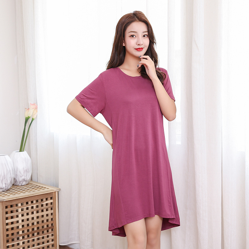 2019 Spring Summer Modal Cotton Plus Size 120KG Short Sleeve Nightdress For Women Sexy Nightshirts   Nightgowns     Sleepshirts