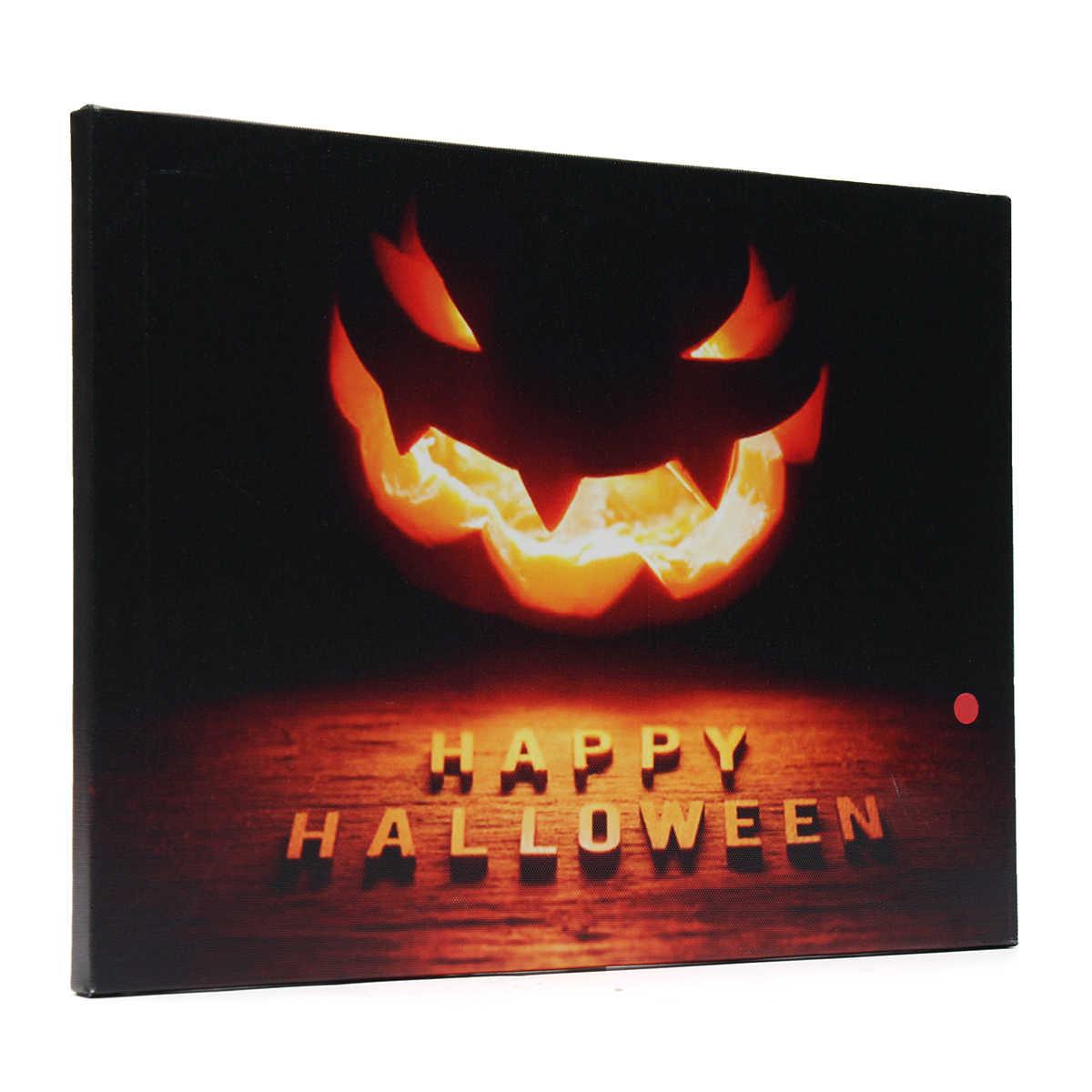 Украшение на празднование Хэллоуина Тыква светодиодный светлые холщовые картины Висячие 40*30 см праздничные и вечерние принадлежности