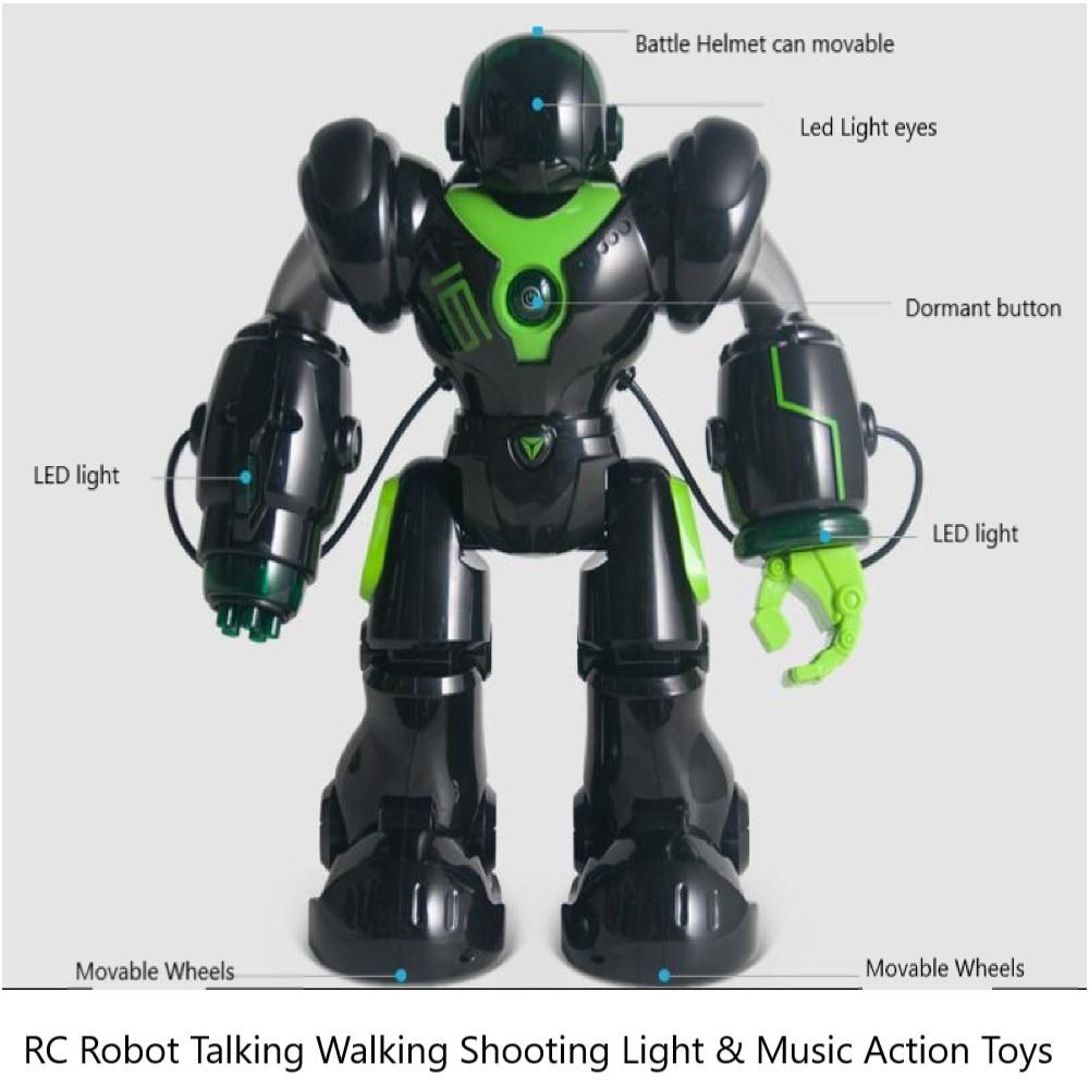 Intelligente IR RC Robot Parler Marche Tir Lumière Et Musique Jouet Combats Chanter Danse Mode Programme Intelligent Jouets Noir