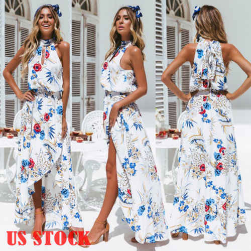 f5b3e91e8524c 2019 New Summer Women BOHO Floral Print Holiday Beach Chiffon Dress  Sleeveless Halter Dress Lady Evening Party Long Maxi Dress