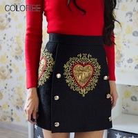 Vintage Black Heart Floral Embroidery High waist Skirt 2019 Spring Women Runway Designer Jacquard Mini Skirts With Buttons