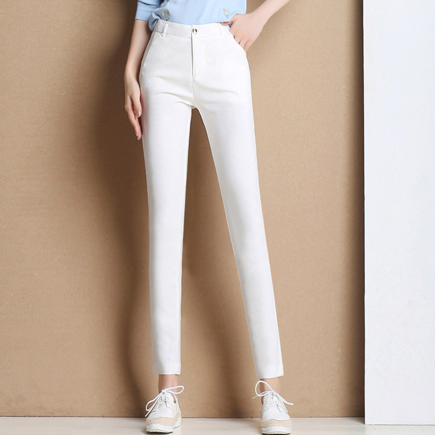 2019 New Spring Summer Pencil Pants Women Sexy Skinny Pant High Waist White Black Trousers Pantalon Femme