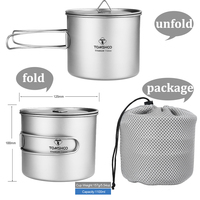 TOMSHOO1100ml Titanium Cup with Folding Handle Camping Cookware Ultralight Camping Cup Titanium Cookware Equipment for Tourism