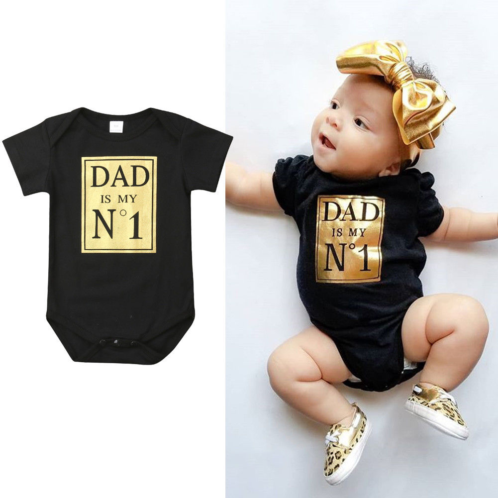 2019 Newborn Baby Toddler Girls Clothes Boys Bodysuit Playsuit Dad No.1 Jumpsuit Sunsuit Clothes