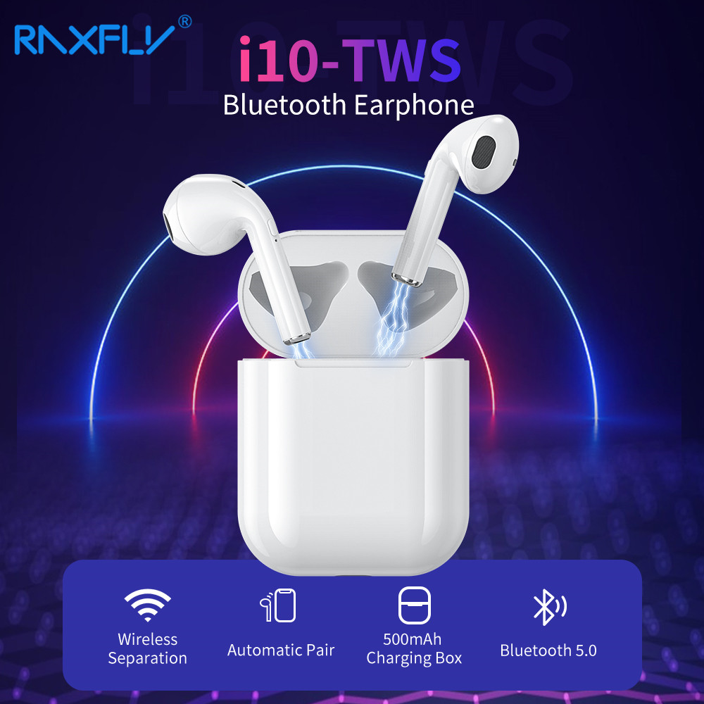 RAXFLY i10 TWS Mini Wireless Bluetooth Earphone For iPhone 7 8 X Dynamic 3D Stereo Earbuds Headset Gaming Sport fone de ouvido