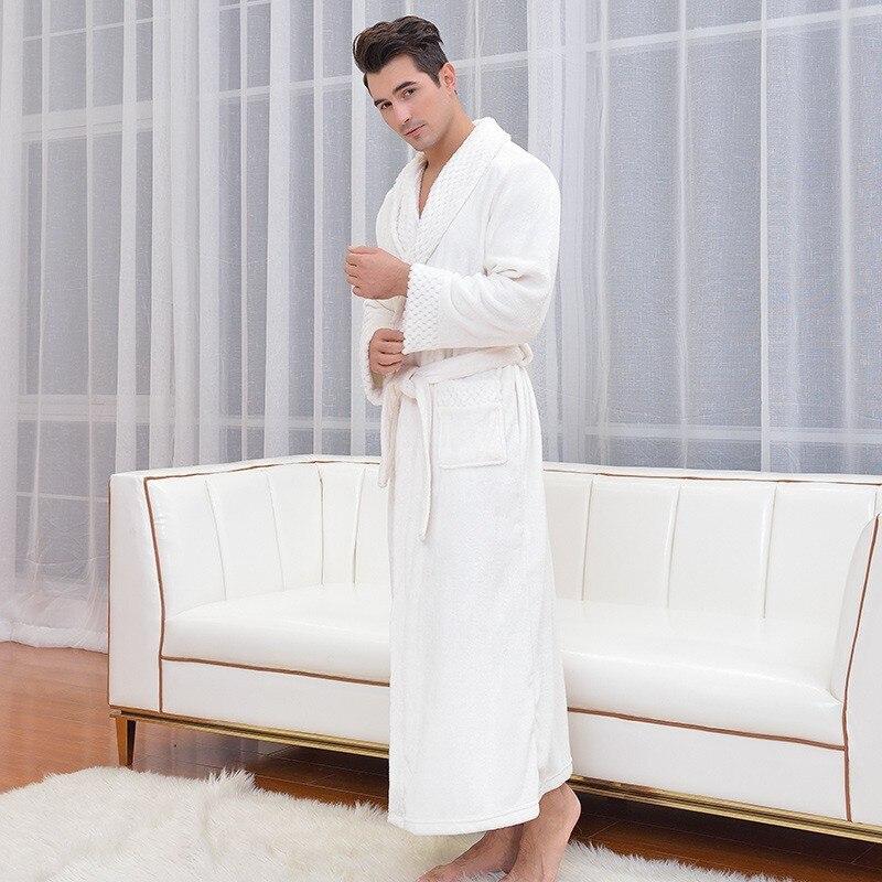 New Male Flannel Single-faced Shellfish Velvet Terry Bathrobes High Quality Men Women Winter Turndown Long Home Warm Bath Robes