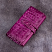 Vintage Handmade Natural Cow Leather Women's Large Burgundy Wallet Card Case Retro Long Wallet Phone Holder Ladies Clutch Purse