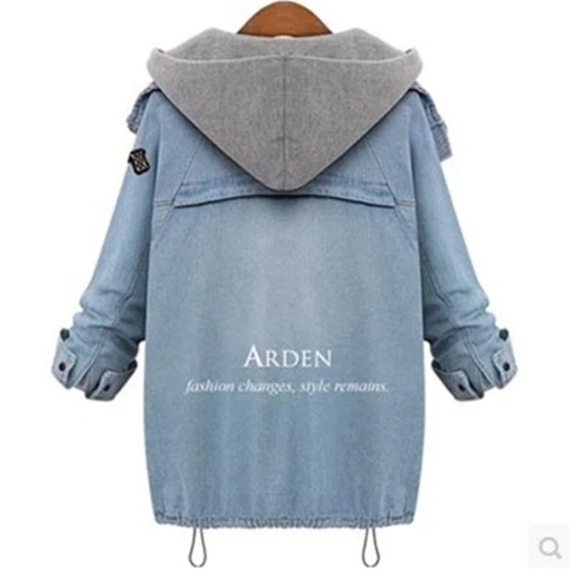 SWYIVY Women's Autumn And Winter New Denim Jacket Casual Loose Windbreaker Vest Two Piece Fashion Blue Denim