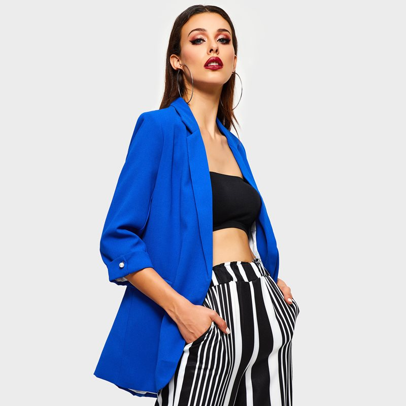 Glorious Casual Blazers Women Spring Simple Solid Blue Office Work Wear Suit Jackets Fashion High Street Elegant Business Ladies Blazer Suits & Sets