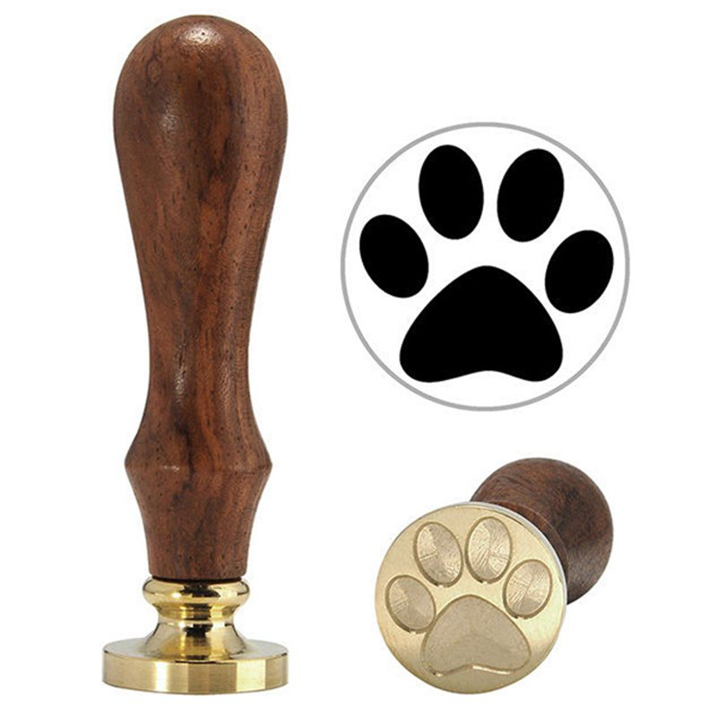 Novelty Copper Head Wooden Handle Flower Wax Seal Stamp Invite Letter Card Decor, Dog Footprints