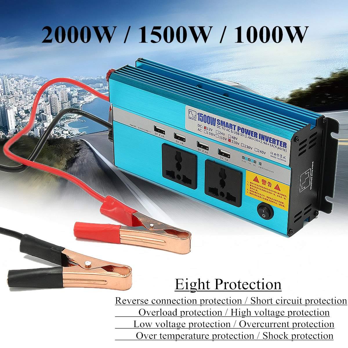 KROAK Auto modifié onduleur à onde sinusoïdale 2000 W DC 12 V à AC 220 V Interface de charge rapide convertisseur fusible ventilateur de refroidissement protéger