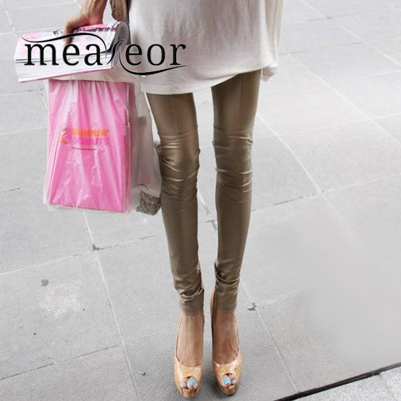 Meaneor Skinny Leggings Faux-Leather Khaki Pants Tighten Stretch Autumn Summer Spring