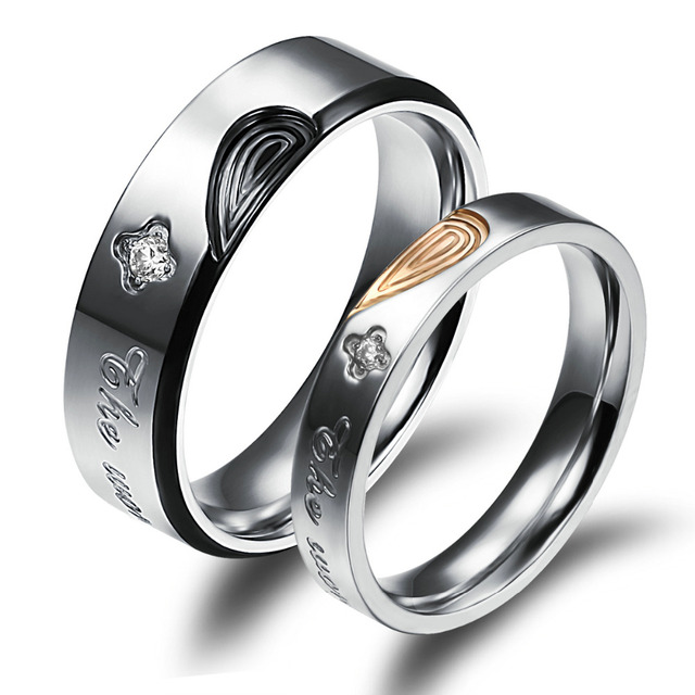 5e20553c7 Romantic His & Her True Love Rings Heart-shaped Ornate Czech Chaton  Engagement Rings In Titanium Steel Clover Couple Rings